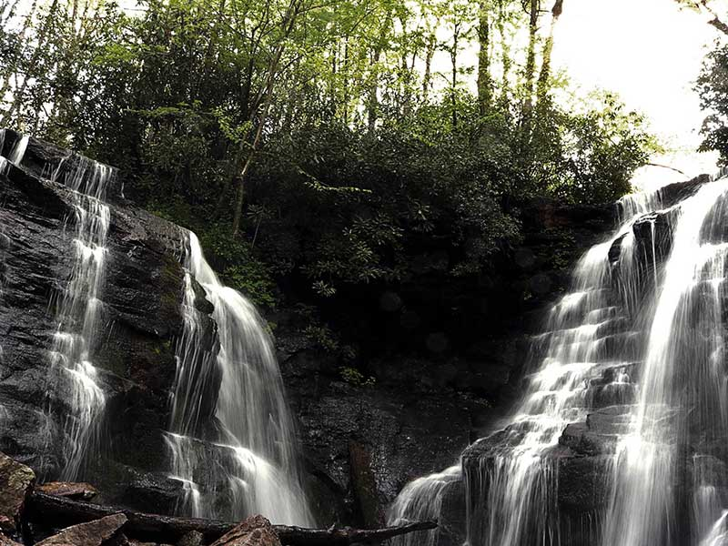 double waterfall of Soco Falls located in Cherokee NC